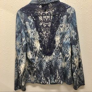 French Blue Large floral with lace Cardigan Large